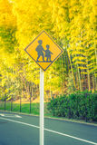 Road sign - Watch out for children ( Filtered image processed vi Stock Image