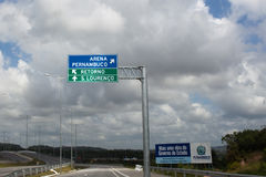 Road sign on the way to Pernambuco Arena in Recife Royalty Free Stock Images