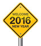 2016 road sign. Welcome 2016 new year road sign Royalty Free Stock Photos