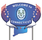 Road sign Welcome to Connecticut. State symbols used in vector graphics royalty free illustration