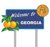 Road sign Welcome to Georgia Stock Photography
