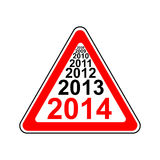 Road sign 2014 Royalty Free Stock Image