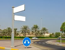 Road sign with white Mockup as a background royalty free stock photo