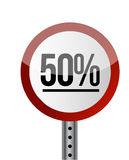 Road sign White Red with word 50 Percent. Royalty Free Stock Image