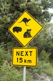 Road sign. Wildlife road sign in Australia stock photography