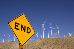 Road sign with wind turbines Royalty Free Stock Image