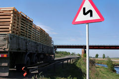 Road sign: winding road. Russian road sign: winding road royalty free stock photos