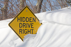 Road sign in winter Royalty Free Stock Images