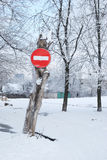 Road sign  in winter Stock Photo