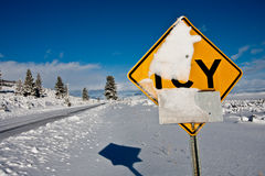 Road sign in winter Stock Photos