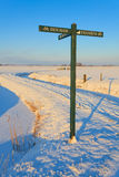 Road sign in winter landscape Royalty Free Stock Photography
