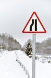Road sign winter scene Royalty Free Stock Photo