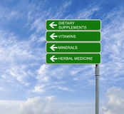 Road sign with  words Dietary  Supplements Stock Image