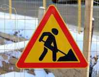 Road sign of work Royalty Free Stock Photography