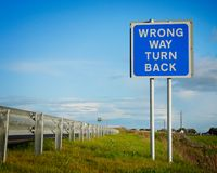 Road  sign ' Wrong Way' Stock Image