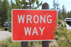 Road sign WRONG WAY Stock Images