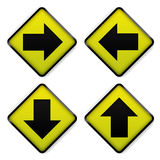 road sign yellow  Royalty Free Stock Image