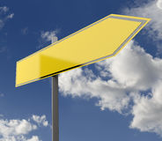Road Sign Yellow Blank Single Stock Photography