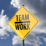 Road sign Yellow with words Teamwork Stock Photography