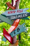 Road signage. A pole full of arrows pointing to diffenent places royalty free stock photo
