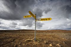 Road signals. Intersection road signals in the middle of Iceland Stock Photography
