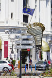 Road Signpost in Nice in France Stock Image
