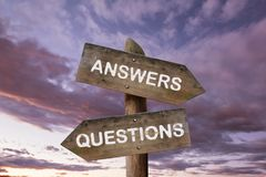 Road signpost with questions. Road signpost with questions and answers. Business research concept royalty free stock photography