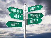 Road signpost with questions Stock Photography
