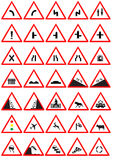 Road signs. Vector road sign graphics isolated in white background Stock Image