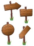 Road signs. Set of wooden road signs stock illustration