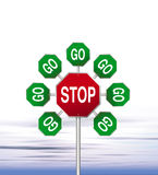 Road signs. An illustration of red stop and green go road signs Stock Photos