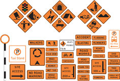 Road signs. Collection or set of informational and warning highway or road signs Stock Images