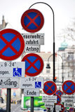 Crosses - Road signs. Clusters of road signs in Budapest, Hungary Royalty Free Stock Images