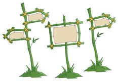 Road signs. Set of bamboo road signs Royalty Free Stock Photos