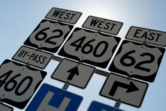Road Signs. Several freeway road signs, on an angle stock photos