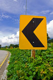 Road Signs. Warn Drivers for Ahead Dangerous Curve Stock Image