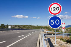 Road signs. Road sign for the maximum speed limit Royalty Free Stock Images