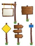 Road signs. Set of wooden road signs Stock Photo