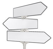 Road signs X 3. Blank directional road signs X 3. White for Copy Space. Isolated Royalty Free Stock Images