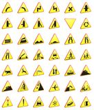 Road signs 3d rendering pack (warning signs). Road signs 3d rendering pack (warning yellow signs Royalty Free Stock Photography