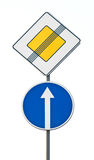 Road signs. Two traffic signs on highway Stock Image