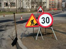 Road signs. Warning for road works Royalty Free Stock Photo