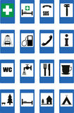 Road signs. 16 road signs. Vector illustration stock illustration