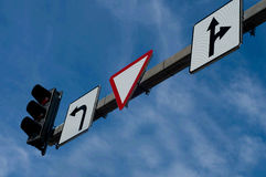 Road signs. Shot of road signs, blue sky, downtown Stock Images