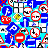 Road signs as seamless pattern Royalty Free Stock Image