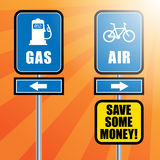 Road signs with bicycle, gas station symbols Stock Photos