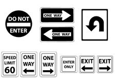 Road signs black and white. A set of road signs in  black and white Royalty Free Stock Images