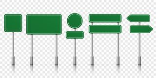 Road signs green vector template icons. Road signs blank icons. Vector green plate road signs templates for direction Stock Photo