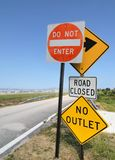 Road Signs on Blue Sky. Closed access road taken at wide angle royalty free stock images