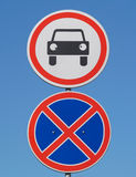 Road signs on the blue sky background Stock Image